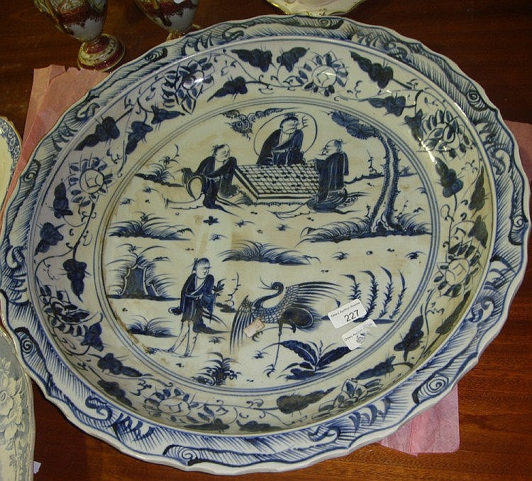 Large Chinese blue and white dish