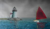Marshall Dubock (born 1943) Untitled Lighthouse and Sailboat, watercolor, 18.5 x 31