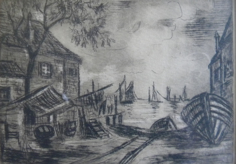 E. (Edith)  Oliver (1889-1979) Old Fish Shacks - Provincetown, Mass., dry point etching, 3.75 x 5