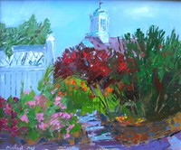 Michael Moss (born 1951) Will's Garden with Post Office Tower, oil on board, 10 x 12