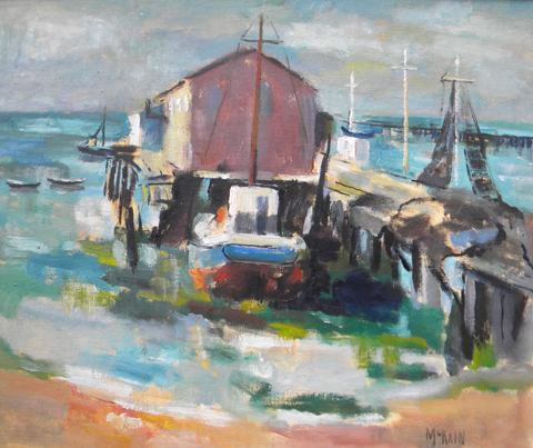 Bruce  McKain  (1900- 1990)  Cold Storage Wharf, Provincetown, oil on canvas board