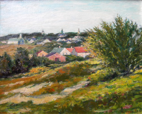 Donald  Witherstine  (1896-1961)  Rooftops, Provincetown, oil on canvas board