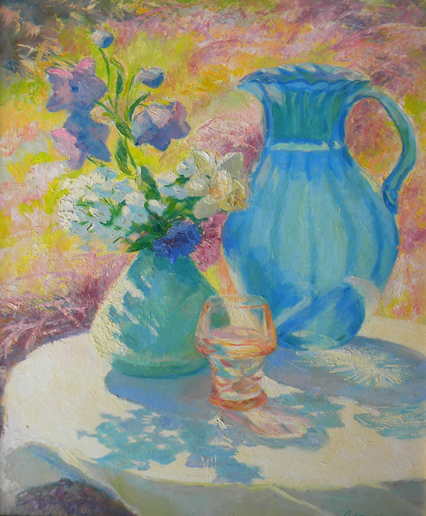 Ada  Rayner  (1901 - 1986 )  Sunlit Blue Pitcher, oil on board