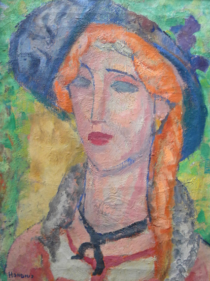 Gerrit  Hondius  (1891-1970)  Portrait of a Woman with Blue Hat, oil on canvas