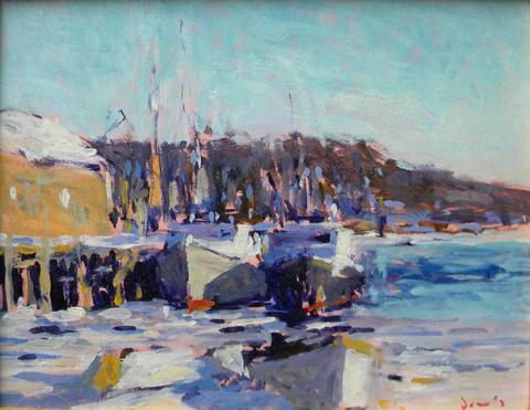 Michael E. Davis  (born 1945)  Frozen In, oil on board