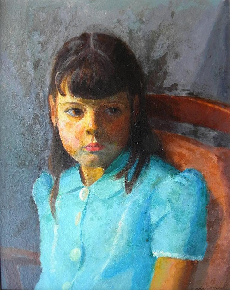 Ada  Rayner  (1901-1986), Little Girl with Blue Dress, oil on masonite