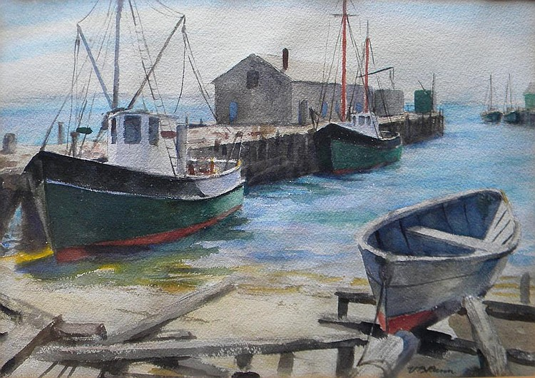 Vollian B. Rann  (1897-1956), Untitled Fishing Pier and Boats, Provincetown, watercolor