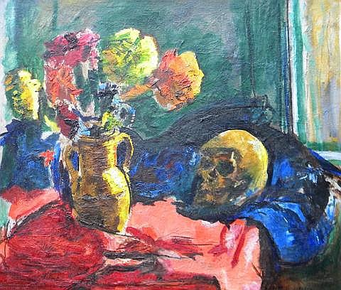 Charles Lloyd Heinz  (1885-1955), Flowers and the Skull, oil on canvas