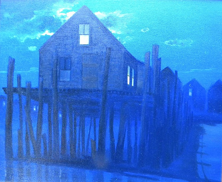 John  Dowd  (born 1960), Full Moon Over Captain Jack's, oil on canvas