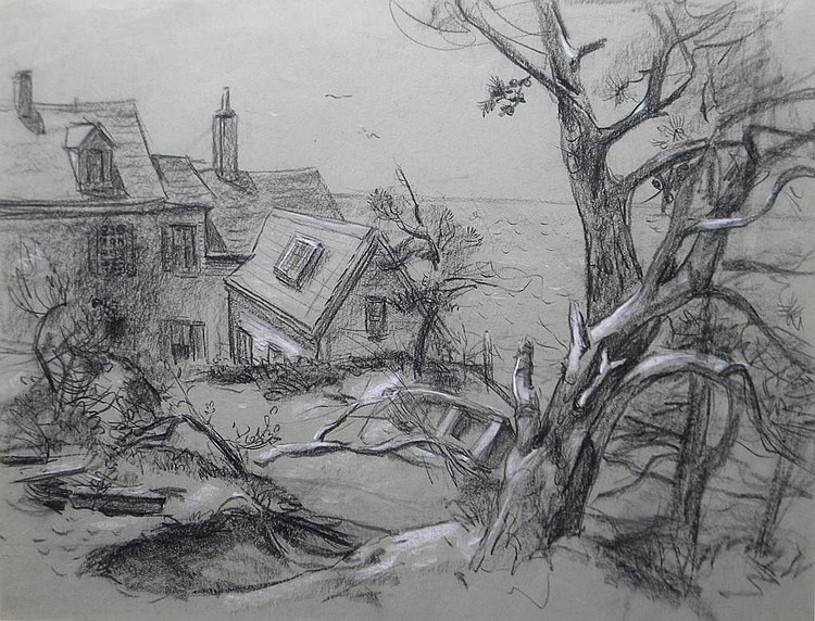 Marston Dean Hodgin  (1903-2002), #51. Truro House, charcoal on paper