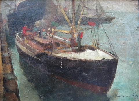 Laszlo  de Nagy  (1906-1944), Boats in Harbor, oil on canvas on board