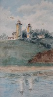 """William D. Parish (1863-?), Twin Lights, Chatham, watercolor, 9.5 x 5.25, signed lower right , circa 1923, artist's information attached verso from """"Picturing Chatham"""" published by Chatham Historical Society"""