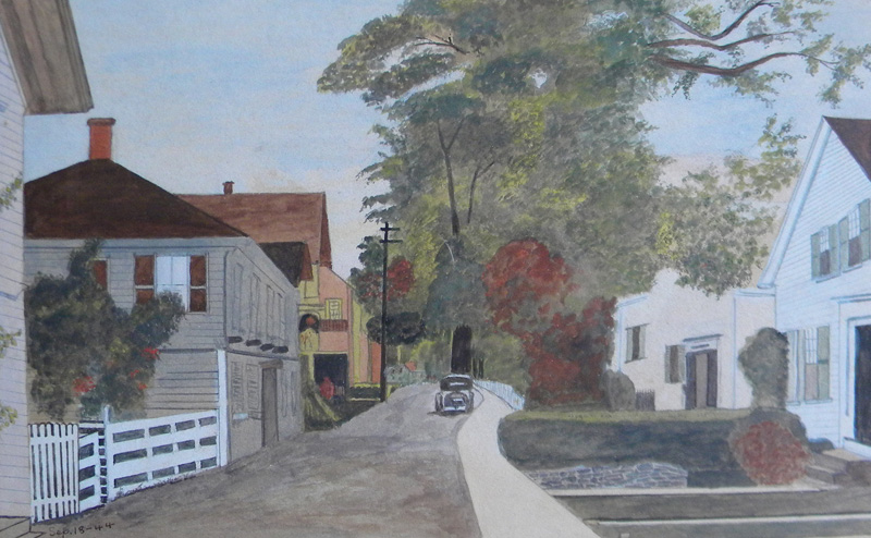 signed J. T. H. (20th century), Commercial Street, West End, Provincetown, watercolor, 9 x 13