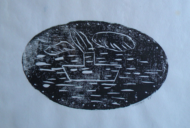 David Vereano (20th century), Untitled Boat, woodcut, 6 x 10, signed lower right in hand