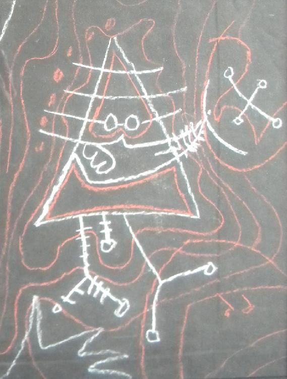 Peter  Busa  (1914-1983), Surrealistic Figure, chalk or pastel on black paper, 13.5 x 10.5, unknown