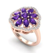 3 CTW Amethyst & VS/SI Diamond Cluster Designer Halo Ring Gold - REF-52A2N - 20770