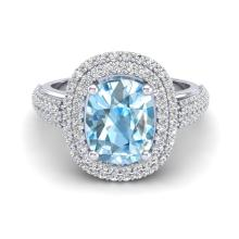 3.50 CTW Topaz & Micro Pave VS/SI Diamond Certified Halo Ring Gold - REF-94X9Y - 20709