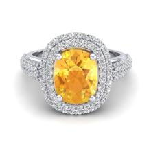 3.50 CTW Citrine & Micro Pave VS/SI Diamond Certified Halo Ring 14K Gold - REF-98N2A - 20715