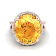 10 CTW Citrine & Micro Pave VS/SI Diamond Certified Halo Ring 14K Gold - REF-70N9A - 20957