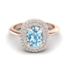 2.50 CTW Sky Blue Topaz With Micro VS/SI Diamond Ring Halo Gold - REF-68A2N - 20736