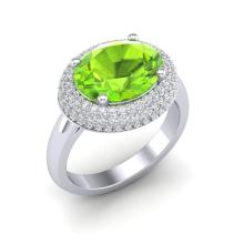 4.50 CTW Peridot & Micro Pave VS/SI Diamond Certified Ring 18K Gold - REF-116F2M - 20920