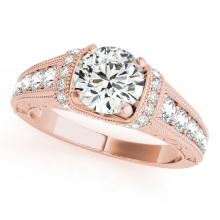 1.25 CTW Certified VS/SI Diamond Solitaire Antique Ring 14K Rose Gold - REF-202N2A - 25248