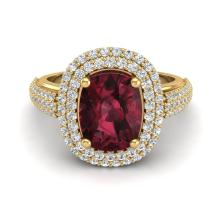 3.10 CTW Garnet & Micro Pave VS/SI Diamond Certified Halo Ring Gold - REF-81N8A - 20713