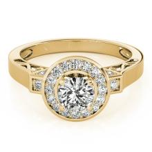 1.25 CTW Certified VS/SI Diamond Solitaire Halo Ring 14K Gold - REF-199M3F - 24931