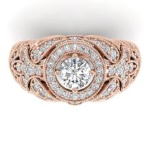 2.35 CTW Certified VS/SI Diamond Art Deco Halo Ring 18K Size 7 Gold - REF-291X3Y - 32667