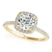 1.25 CTW Certified VS/SI Diamond Solitaire Halo Ring 14K Yellow Gold - REF-290W7H - 24050