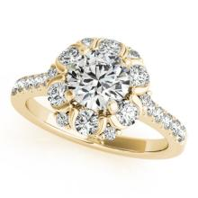 1.8 CTW Certified VS/SI Diamond Solitaire Halo Ring 14K Yellow Gold - REF-227R3K - 24520