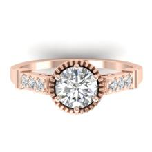 1.22 CTW Certified VS/SI Diamond Solitaire Art Deco Ring 18K Gold - REF-361M8F - 32793