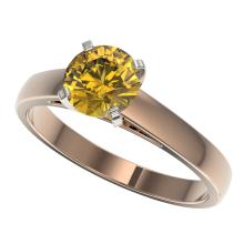 1.29 CTW Certified Intense Yellow Si Diamond Solitaire Ring Gold - REF-231K8R - 36544