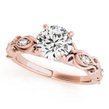 0.6 CTW Certified VS/SI Diamond Solitaire Antique Ring 14K Gold - REF-102K4R - 25116
