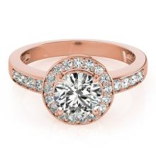 1.2 CTW Certified VS/SI Diamond Solitaire Halo Ring 14K Rose Gold - REF-193H8W - 24816