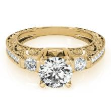 1.63 CTW Certified VS/SI Diamond Solitaire Antique Ring 14K Gold - REF-493K3R - 25135