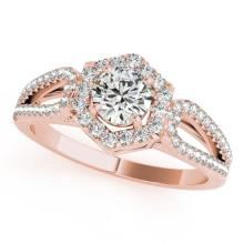 0.9 CTW Certified VS/SI Diamond Solitaire Halo Ring 14K Rose Gold - REF-119X6Y - 24603