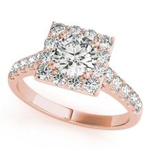 2 CTW Certified VS/SI Diamond Solitaire Halo Ring 14K Rose Gold - REF-403X3Y - 24681
