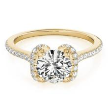 1.33 CTW Certified VS/SI Diamond Solitaire Halo Ring 14K Yellow Gold - REF-292K8R - 24032