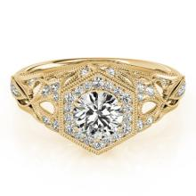 1.4 CTW Certified VS/SI Diamond Solitaire Halo Ring 14K Yellow Gold - REF-380A9N - 24718