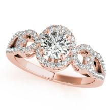 1.15 CTW Certified VS/SI Diamond Solitaire Halo Ring 14K Gold - REF-194R2K - 24531