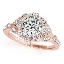 1 CTW Certified VS/SI Diamond Solitaire Halo Ring 14K Rose Gold - REF-120M4F - 24379