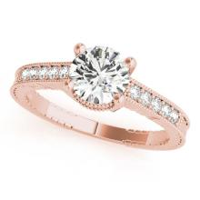 1.45 CTW Certified VS/SI Diamond Solitaire Antique Ring 14K Rose Gold - REF-474N4A - 25242