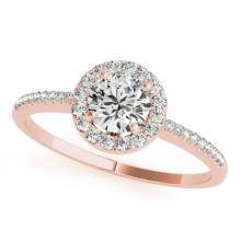 0.75 CTW Certified VS/SI Diamond Solitaire Halo Ring 14K Gold - REF-100A2N - 24196