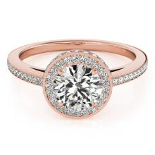 1 CTW Certified VS/SI Diamond Solitaire Halo Ring 14K Rose Gold - REF-128F2M - 24765