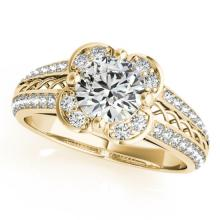 1.5 CTW Certified VS/SI Diamond Solitaire Halo Ring 14K Gold - REF-376M5F - 24760