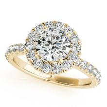 1.75 CTW Certified VS/SI Diamond Solitaire Halo Ring 14K Yellow Gold - REF-381A5N - 24149