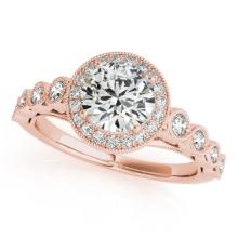 1.5 CTW Certified VS/SI Diamond Solitaire Halo Ring 14K Rose Gold - REF-380N7A - 24250