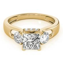 1.6 CTW Certified VS/SI Princess Cut Diamond 3 Stone Ring 14K Gold - REF-448A2N - 25885