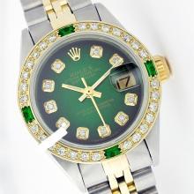 Rolex Ladies Two Tone 14K Gold/SS, Diam Dial & Diam/Emerald Bezel, Sapphire Crystal - REF-440A7N